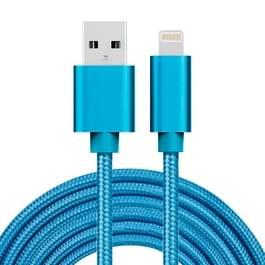 3m 3A geweven stijl metaal hoofd 8 pins naar USB Data / de kabel van de lader  voor iPhone X / iPhone 8 & 8 Plus / iPhone 7 & 7 Plus / iPhone 6 & 6s & 6 & 6s Plus / iPad(Blue)