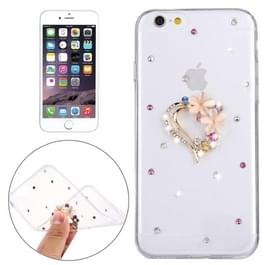 For iPhone 6 & 6s Diamond Encrusted Flower Love Pattern Soft TPU Protective Case Back Cover
