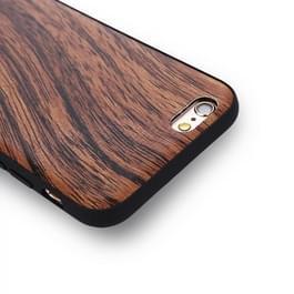 iPhone 6 Plus & 6s Plus hout patroon Kunststof + PU leren back cover Hoesje (bruin)