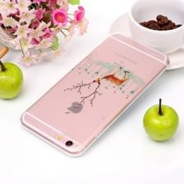 Voor iPhone 6 Plus & 6s Plus Tree Branch Elk patroon hoge transparantie TPU beschermende softcase