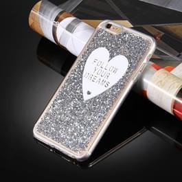 Voor iPhone 6 Plus & 6s Plus Glitter poeder hartvormige woorden patroon zachte TPU beschermende Case(Silver)
