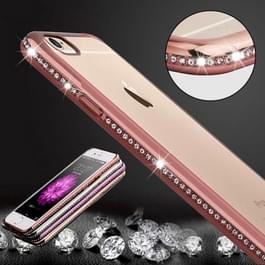 Voor iPhone 6 & 6s Diamond Bling luxe Plating PC Frame transparante TPU beschermende Case(Rose Gold)