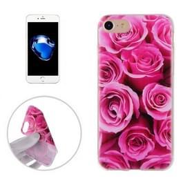 Voor iPhone 8 & 7 roze rozen patroon TPU zachte terug Cover beschermhoes