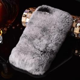 For  iPhone 8 & 7  Genuine Rabbit Hair Diamond Encrusted Thickened PC Protective Case(Grey)
