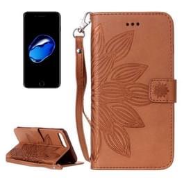 Voor iPhone 8 & 7 Crazy Horse textuur Half bloem afdrukken horizontaal spiegelen lederen draagtas met houder & Card Slots & portemonnee & Lanyard (bruin)