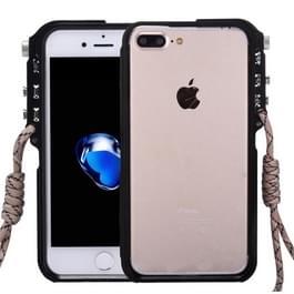 iPhone 7 Plus & 8 Plus robuust Aluminium bumper frame Hoesje met draagriem (zwart)