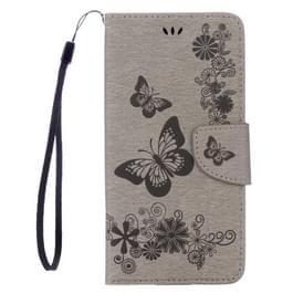 Voor iPhone 8 Plus & 7 Plus vlinders reliëf horizontale Flip lederen draagtas met houder & Card Slots & portemonnee & Lanyard(Grey)
