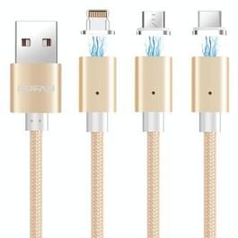 POFAN P13 1m 2A magnetische 8 Pin + Micro USB + USB-C / Type-C op USB weven stijl Sync opladen datakabel met LED-verlichting  voor iPhone / iPad / Galaxy / Huawei / Xiaomi / LG / HTC / Meizu en andere slimme Phones(Gold)