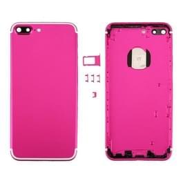 6 in 1 voor iPhone 7 Plus (backcover + kaarthouder Volume Control-toets + Power knop + Mute Switch Vibrator-toets + teken) volledige vergadering huisvesting dekken (Magenta + wit)
