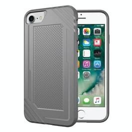 Voor iPhone 8 & 7 & 6 Lattice textuur TPU Shockproof Back Cover beschermhoes (grijs)