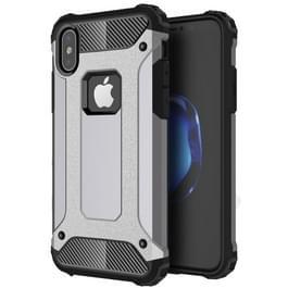 iPhone X Robuust pantser beschermend TPU + plastic back cover Hoesje (grijs)
