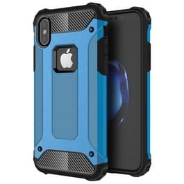 iPhone X Robuust pantser beschermend TPU + plastic back cover Hoesje (blauw)
