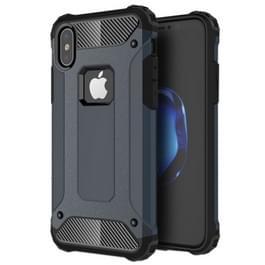 iPhone X Robuust pantser beschermend TPU + plastic back cover Hoesje (marine blauw)
