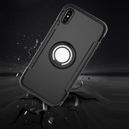iPhone X Robuust pantser beschermend TPU + plastic back cover Hoesje met 360 graden draaiende magnetische houder (zwart)