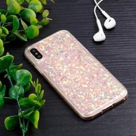iPhone X kleurrijk Glitter poeder patroon beschermend zacht TPU back cover Hoesje (roze)