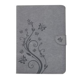 Voor iPad 4 geperste bloemen vlinder patroon horizontaal flip PU lederen draagtas met magnetische Buckle & houder & Card Slots & Wallet(Grey)