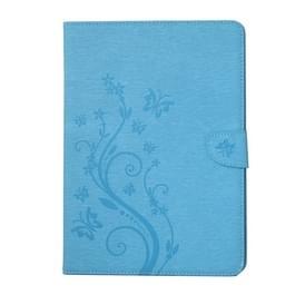 Voor iPad 4 geperste bloemen vlinder patroon horizontaal flip PU lederen draagtas met magnetische Buckle & houder & Card Slots & Wallet(Blue)