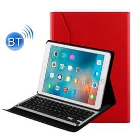 Voor iPad Air 2 / iPad Air / Pro 9.7 inch / iPad 9 7 (2018) & iPad 9 7 (2017) afneembare aluminium legering Bluetooth toetsenbord + Lambskin textuur lederen draagtas met Holder(Red)