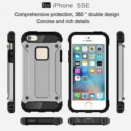 Harde Armor TPU + PC combinatie Case voor iPhone SE & 5 & 5s(Silver)