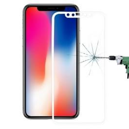 Voor iPhone X 0 26 mm 9H oppervlakte hardheid 3D explosieveilige volledige scherm Carbon Fiber zachte randen getemperd glas scherm Film (wit)