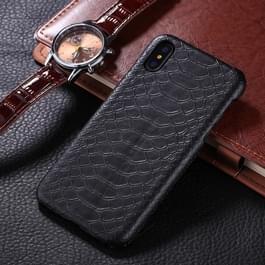 iPhone X / XS Slangenhuid patroon Kunststof + PU leren back cover Hoesje (zwart)