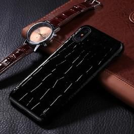 iPhone X / XS Krokodil patroon Kunststof + PU leren back cover Hoesje (zwart)