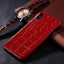 iPhone X / XS Krokodil patroon Kunststof + PU leren back cover Hoesje (rood)