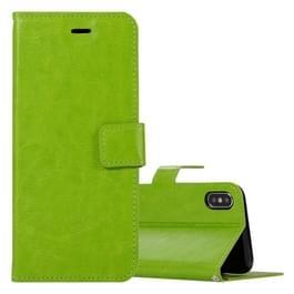 Voor iPhone X Crazy Horse textuur horizontaal flip lederen draagtas met houder & Card Slots & portemonnee & Foto Frame(Green)
