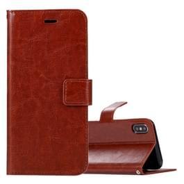 Voor iPhone X Crazy Horse textuur horizontaal flip lederen draagtas met houder & Card Slots & portemonnee & Foto Frame(Brown)