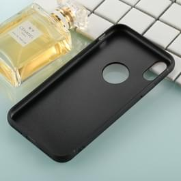 Voor iPhone X 0,8 mm gehard glas hoge kwaliteit TPU Casco beschermende back cover Case(White)