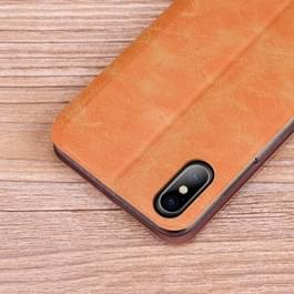 MOFI voor iPhone X Crazy Horse textuur horizontale Flip lederen draagtas met houder & kaartslot (bruin)