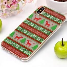 Voor iPhone X Tribal Elk patroon hoge transparantie TPU beschermende softcase