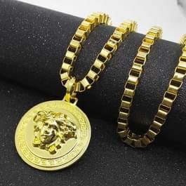 Hip Hop gouden ronde Medusa hoofd hanger ketting fon mannen  de kettinglengte: 80cm(Gold)
