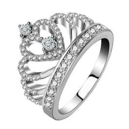 Prinses Koningin Crown-vormige platina geplateerde Zirkonia Ring  US maat: 7 Diameter: 17 3 mm  omtrek: 54.4mm(Silver)