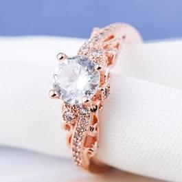 1 paar vrouwen Fashion Micro-ingelegd Zircon verlovingsring prinses koningin aristocratische Temperament paar Ring(Rose Gold US size: 6)