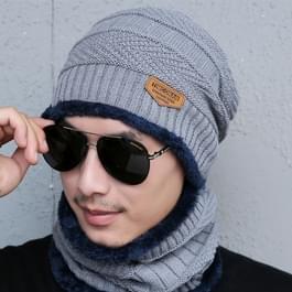Fashion Winter Unisex stad muur Beanie sjaal pak  dik en pluche warme gebreide Hat(Grey)
