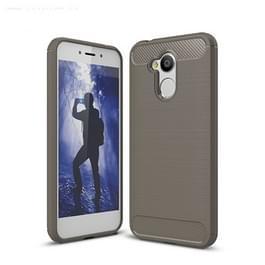 Voor Huawei Honor 6A koolstofvezel TPU geborsteld textuur schokbestendige terug beschermhoes Case(Grey)