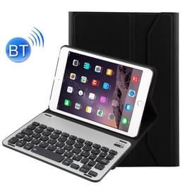 Voor iPad mini 3 / mini 2 / mini afneembare aluminium legering Bluetooth toetsenbord + Lambskin textuur lederen draagtas met Holder(Black)