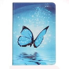 Voor iPad mini 1 / 2 / 3 schilderij Blue Butterfly patroon horizontale Flip lederen draagtas met houder