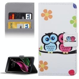 LG G5 horizontaal Uilenpaartje patroon PU leren Flip Hoesje met houder en opbergruimte voor pinpassen & geld
