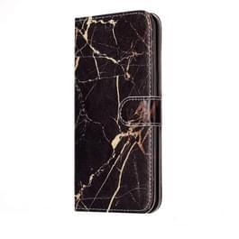 Huawei P10 horizontaal Zwart goudkleurig marmer patroon PU leren Flip Hoesje met houder en opbergruimte voor pinpassen & geld