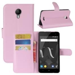 Voor Wiko Jerry 2 Litchi textuur horizontale Flip lederen draagtas met houder & kaartsleuven & portemonnee (roze)
