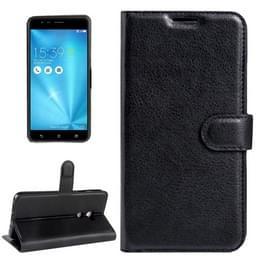 Voor ASUS ZenFone 3 Zoom / ZE553KL Litchi structuur horizontaal spiegelen lederen hoesje met Magnetic sluiting & houder & opbergruimte voor pinpassen & portemonnee(zwart)