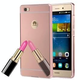 Huawei P8 Lite gegalvaniseerd spiegelend beschermend Back Cover Hoesje + Metalen Bumper Frame (roze goudkleurig)