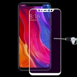 Ultra dunne 9H 3D Anti Blue-ray volledig scherm koolstofvezel getemperd glas Film voor Xiaomi Mi 8(White)