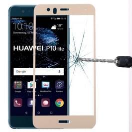 Voor Huawei P10 Lite 0.3mm 9H oppervlaktehardheid 2.5D gebogen zeefdruk volledige scherm getemperd glas scherm Protector(Gold)