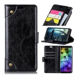 Koperen gesp Nappa textuur horizontale Flip Leather Case for voor Nokia 7.1  met houder & kaartsleuven & Wallet(Black)