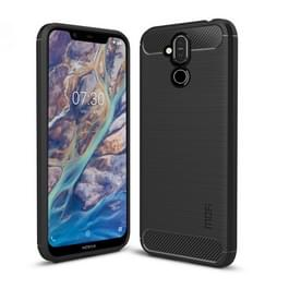 MOFI geborsteld textuur koolstofvezel TPU Case voor Nokia 7.1 Plus / X7 (zwart)
