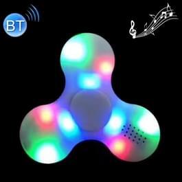 Fidget Spinner met Bluetooth V4.0 en RGB LED verlichting Speeltje tegen stress en angst voor kinderen en volwassenen, 1.5 Minuut Rotatie Tijd, ABS materiaal met grote metalen balletjes wit