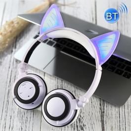 Opvouwbare Wireless Bluetooth V4.2 Glowing kat Ear hoofdtelefoon Gaming Headset met LED licht & Mic  voor iPhone  Galaxy  Huawei  Xiaomi  LG  HTC en andere slimme Phones(White)